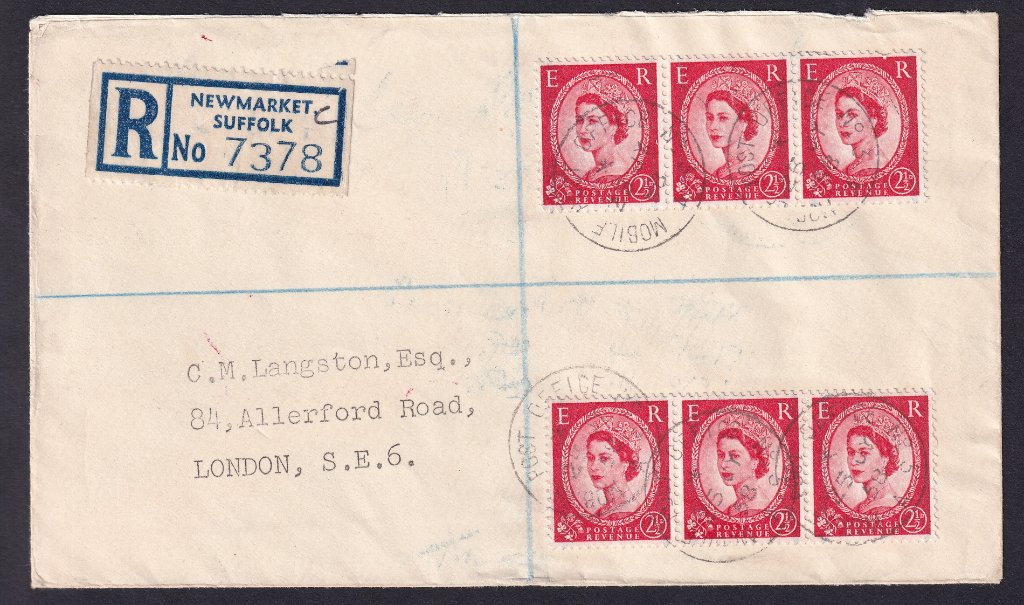 Registered cover from Newmarket Suffolk to London.