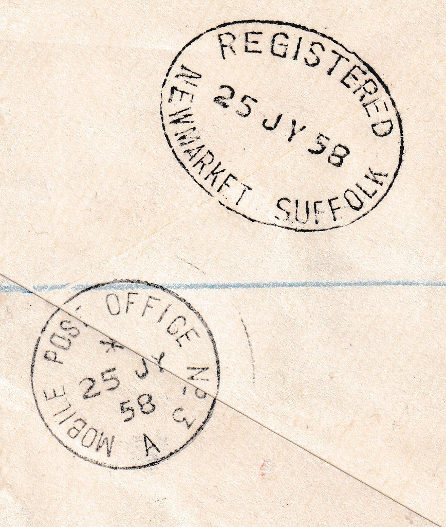 Postmarked on reverse Mobile Post Office no 3 & Registered Newmarket Suffolk 25th July 1958