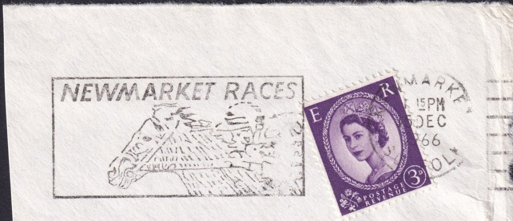 Newmarket Races machine slogan cancel dated 15th December 1966.<br />PPP LP 394t Type 239 used from 30th November 1966 to 11th April 1967.