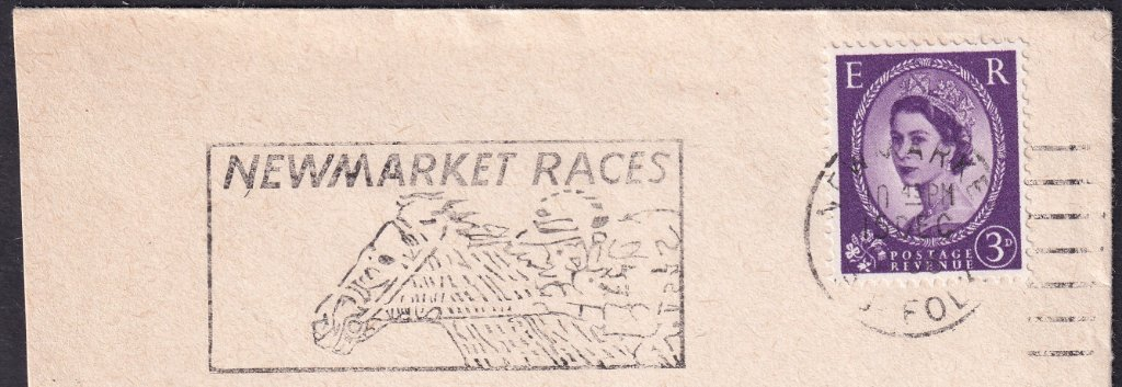 Newmarket Races machine slogan cancel dated 16th December 1966.<br />PPP LP 394t Type 239 used from 30th November 1966 to 11th April 1967.
