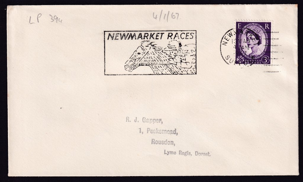Newmarket Races machine slogan cancel dated 4th January 1967 to Lime Regis, Dorset.<br />PPP LP 394t Type 239 used from 30th November 1966 to 11th April 1967.
