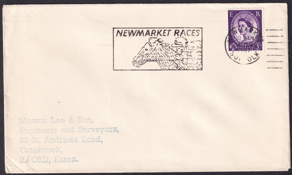 Newmarket Races machine slogan cancel dated 4th January 1967 to Ilford, Essex.<br />PPP LP 394t Type 239 used from 30th November 1966 to 11th April 1967.