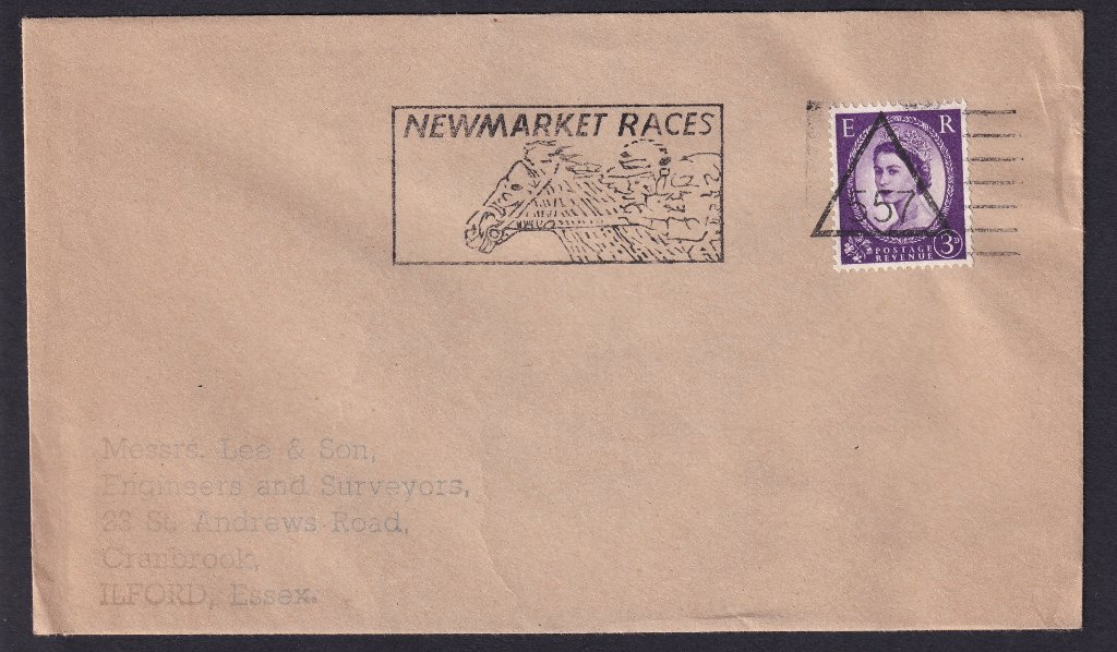 Newmarket Races machine slogan cancel  with Newmarket number 557 triangle cancel to Ilford Essex.<br />PPP LP 394t Type 239 used from 30th November 1966 to 11th April 1967.