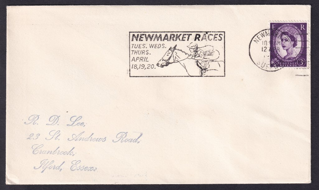 Newmarket Races Tues, Wed, Thurs April 18, 19, 20 machine slogan cancel dated 12th April 1967 to Ilford Essex - second day of use.<br />PPP 765t Type 491 used from 11th to 20th April 1967.