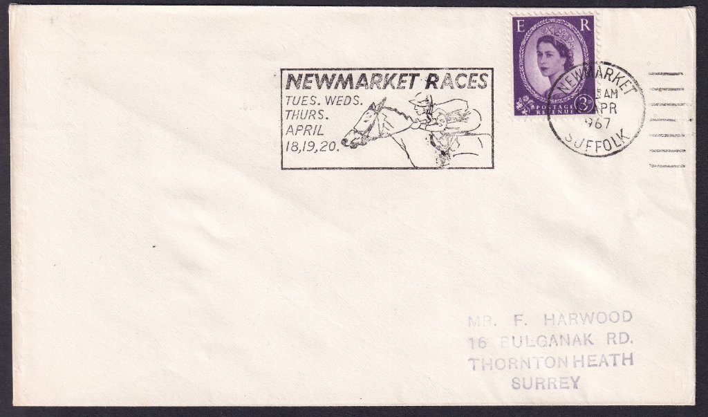 Newmarket Races Tues, Wed, Thurs April 18, 19, 20 machine slogan cancel dated 12th April 1967 to Thornton Heath Surrey - second day of use.<br />PPP 765t Type 491 used from 11th to 20th April 1967.