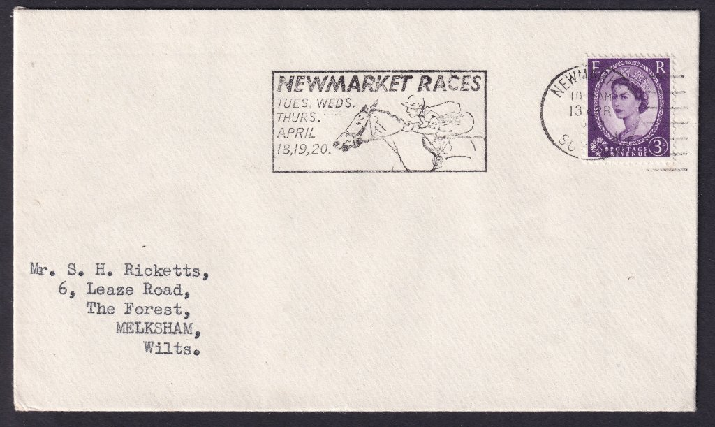 Newmarket Races Tues, Wed, Thurs April 18, 19, 20 machine slogan cancel dated 13th April 1967 to Melksham Wiltshire.<br />PPP 765t Type 491 used from 11th to 20th April 1967.