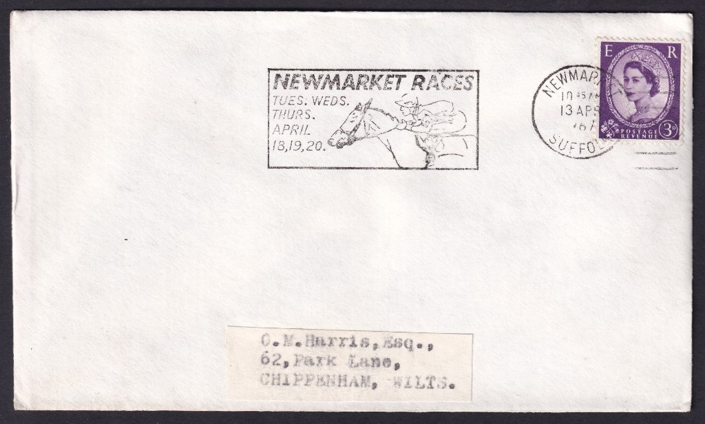 Newmarket Races Tues, Wed, Thurs April 18, 19, 20 machine slogan cancel dated 13th April 1967 to Chippenham Wiltshire.<br />PPP 765t Type 491 used from 11th to 20th April 1967.