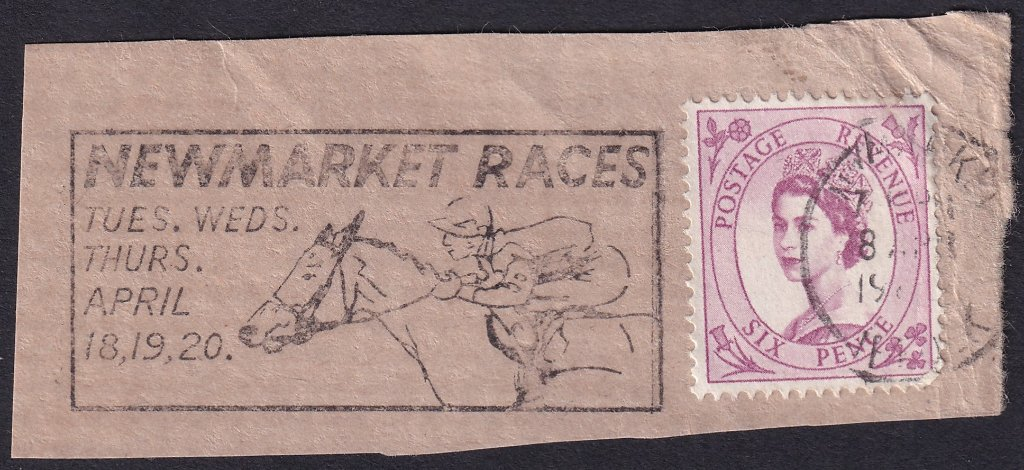 Newmarket Races Tues, Wed, Thurs April 18, 19, 20 machine slogan cancel dated 18th April 1967 on piece.<br />PPP 765t Type 491 used from 11th to 20th April 1967.