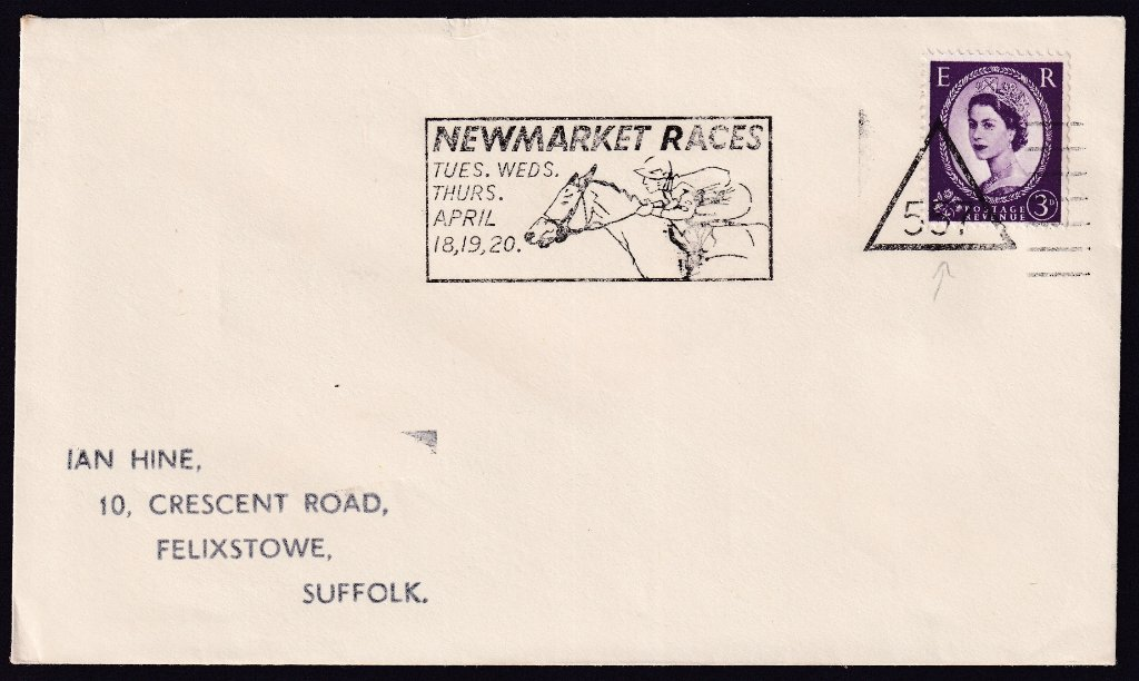Newmarket Races Tues, Wed, Thurs April 18, 19, 20 machine slogan with Newmarket number 557 triangle cancel to Felixstowe Sussex<br />PPP 765t Type 491 used from 11th to 20th April 1967.