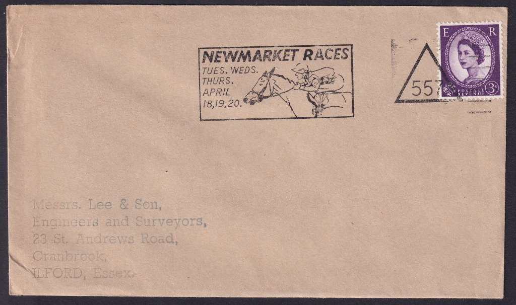 Newmarket Races Tues, Wed, Thurs April 18, 19, 20 machine slogan with Newmarket number 557 triangle cancel to Ilford Essex.<br />PPP 765t Type 491 used from 11th to 20th April 1967.