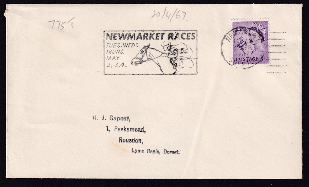 Newmarket Races Tues, Wed, Thurs May 2,3,4 machine slogan cancel dated 20th April 1967, the first day of use, to Lime Regis, Dorset.<br />PPP 775t type 500 used from 20th April to 4th May 1967