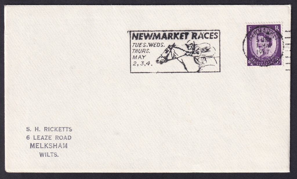 Newmarket Races Tues, Wed, Thurs May 2,3,4 machine slogan cancel dated 1st May 1967, to Melksham Wiltshire.<br />PPP 775t type 500 used from 20th April to 4th May 1967
