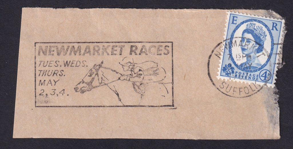 Newmarket Races Tues, Wed, Thurs May 2,3,4 machine slogan cancel dated 3rd May 1967 on piece.<br />PPP 775t type 500 used from 20th April to 4th May 1967