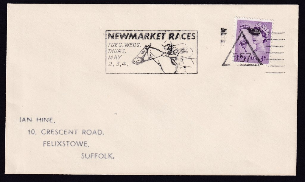 Newmarket Races Tues, Wed, Thurs May 2,3,4 machine slogan cancel with Newmarket number 557 triangle cancel.<br />PPP 775t type 500 used from 20th April to 4th May 1967