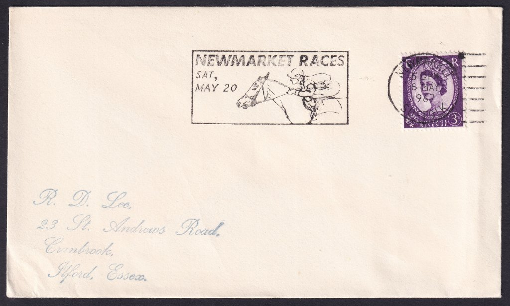 Newmarket Races Sat May 20 machine slogan cancel dated 6th May 1967 to Ilford Essex.<br />PPP 787t type 512 used from 4th to 19th May 1967