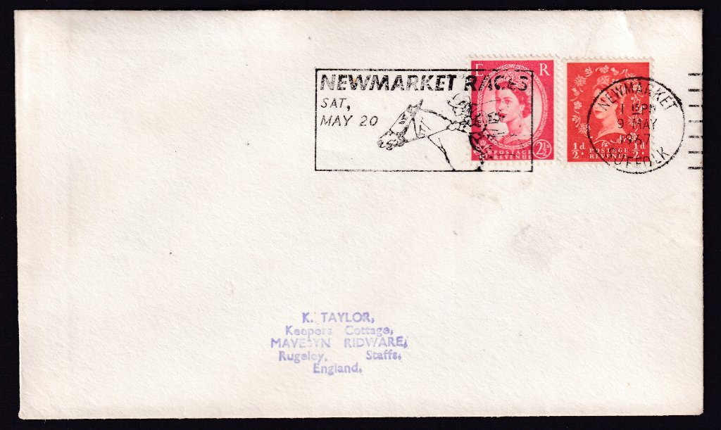 Newmarket Races Sat May 20 machine slogan cancel dated 9th May 1967 to Rugeley Staffordshire<br />PPP 787t type 512 used from 4th to 19th May 1967