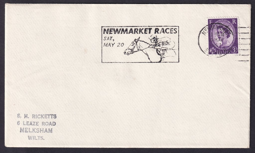 Newmarket Races Sat May 20 machine slogan cancel dated 10th May 1967 to Melksham Wiltshire.<br />PPP 787t type 512 used from 4th to 19th May 1967
