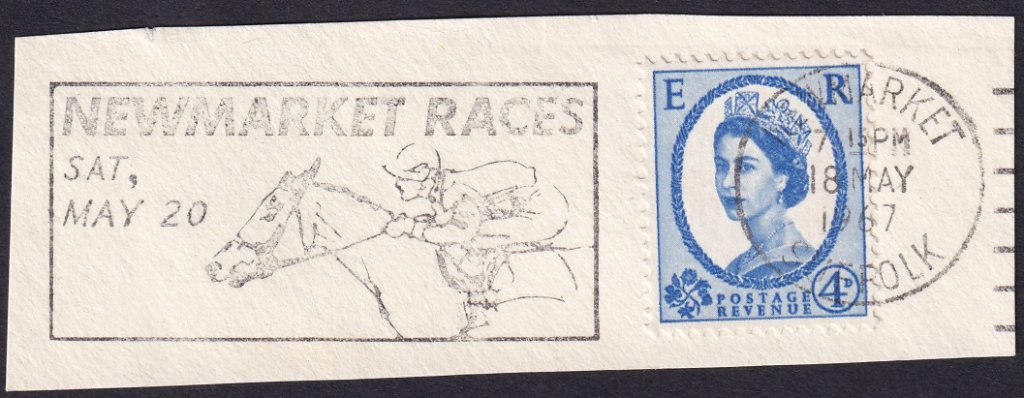 Newmarket Races Sat May 20 machine slogan cancel dated 18th May 1967 on piece<br />PPP 787t type 512 used from 4th to 19th May 1967