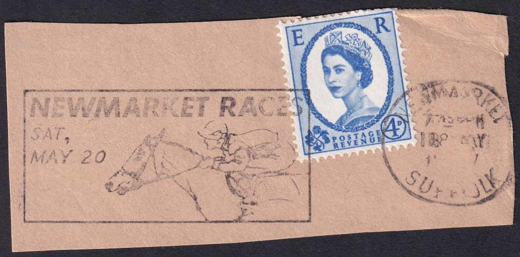 Newmarket Races Sat May 20 machine slogan cancel dated 18th May 1967 on piece.<br />PPP 787t type 512 used from 4th to 19th May 1967