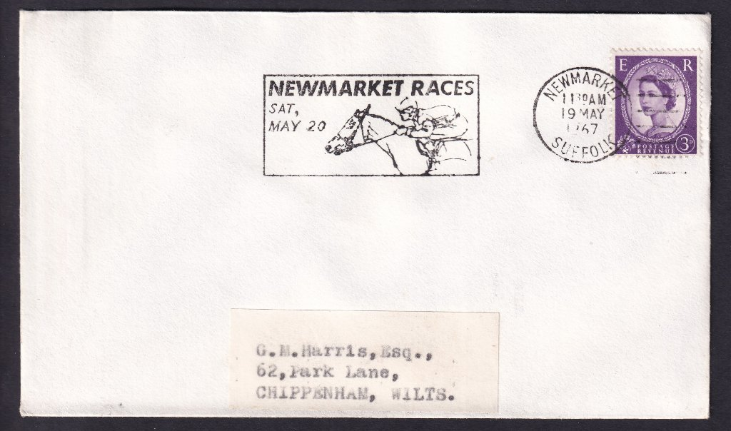 Newmarket Races Sat May 20 machine slogan cancel dated 19th May 1967, the last day of use, to Chippenham Wiltshire.<br />PPP 787t type 512 used from 4th to 19th May 1967