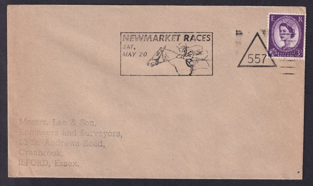 Newmarket Races Sat May 20 machine slogan cancel  with Newmarket number 557 triangle to Ilford Essex.<br />PPP 787t type 512 used from 4th to 19th May 1967.