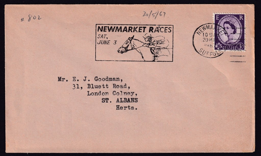 Newmarket Races Sat June 3 machine slogan cancel dated 20th May 1967 to St.Albans, Hertfordshire.<br />PPP 802t type 524 used from 20th May to  3rd June 1967