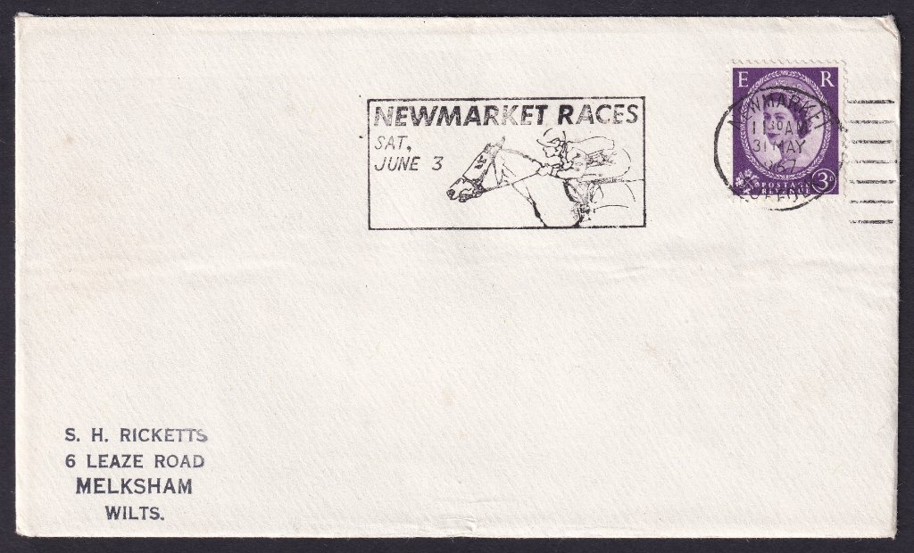 Newmarket Races Sat June 3 machine slogan cancel dated 31st May 1967 to Melksham, Wiltshire.<br />PPP 802t type 524 used from 20th May to  3rd June 1967