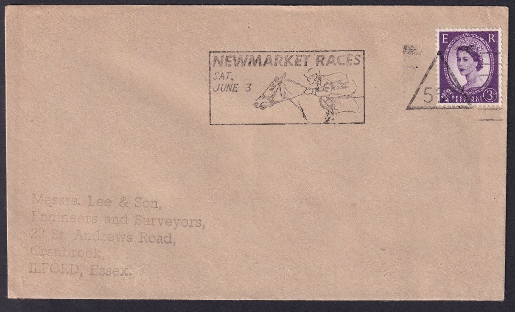 Newmarket Races Sat June 3 machine slogan cancel with Newmarket number 557 triangle to Ilford Essex.<br />PPP 802t type 524 used from 20th May to 3rd June 1967.