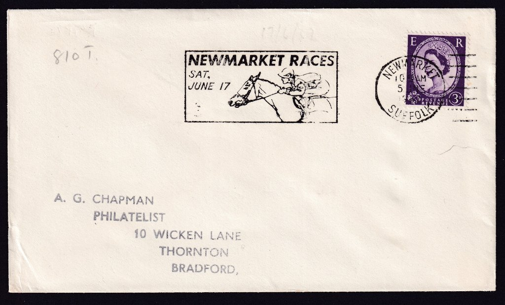 Newmarket Races Sat June 17 machine slogan cancel dated 5th June 1967 to Thornton, Bradford.