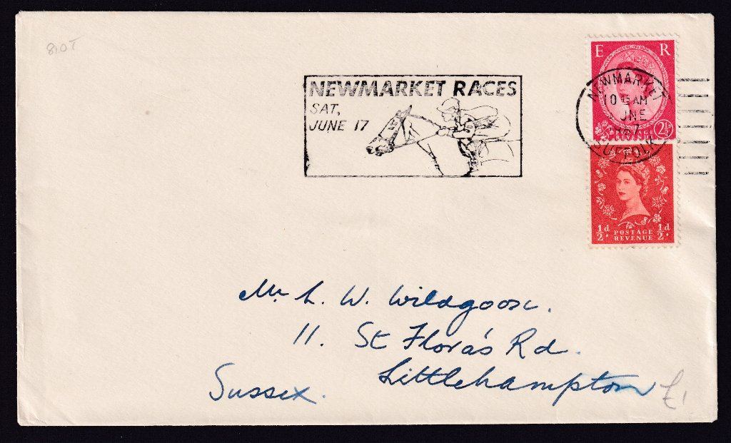 Newmarket Races Sat June 17 machine slogan cancel dated 8th June 1967 to Littlehampton Sussex.