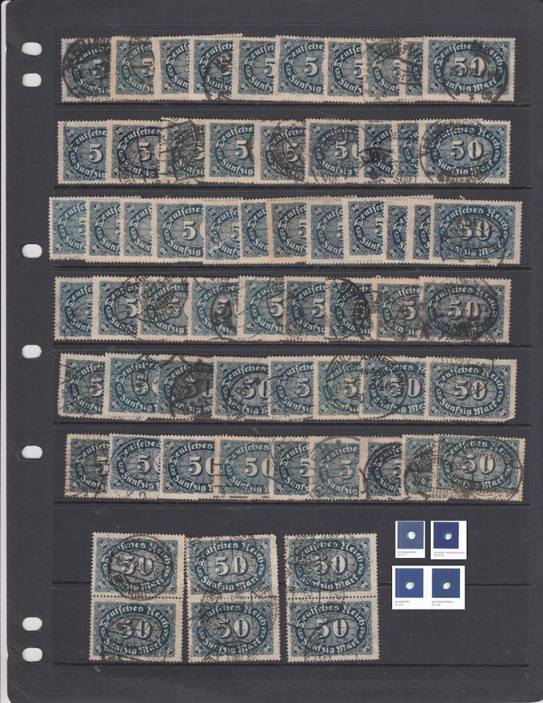 Examples of Mi.246 German postage stamps scanned normally.
