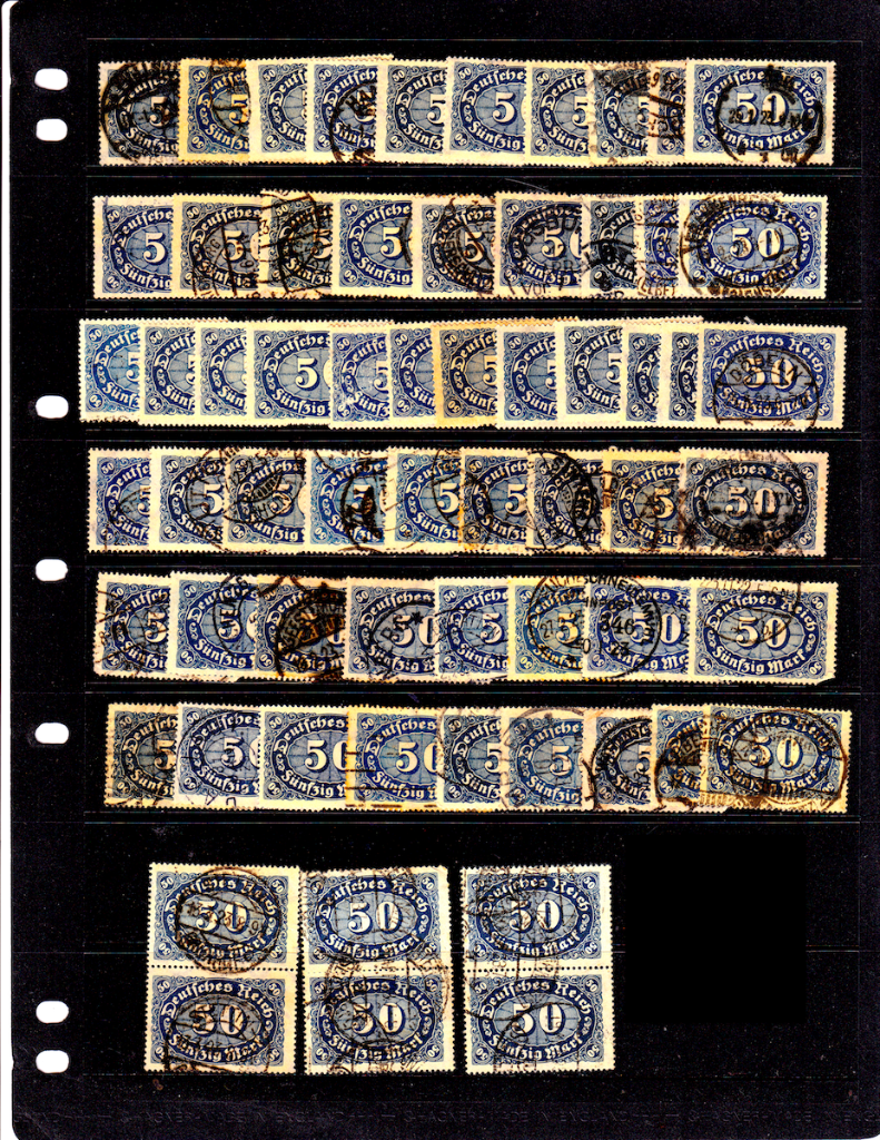 Examples of Mi.246 German postage stampsenhanced scans.