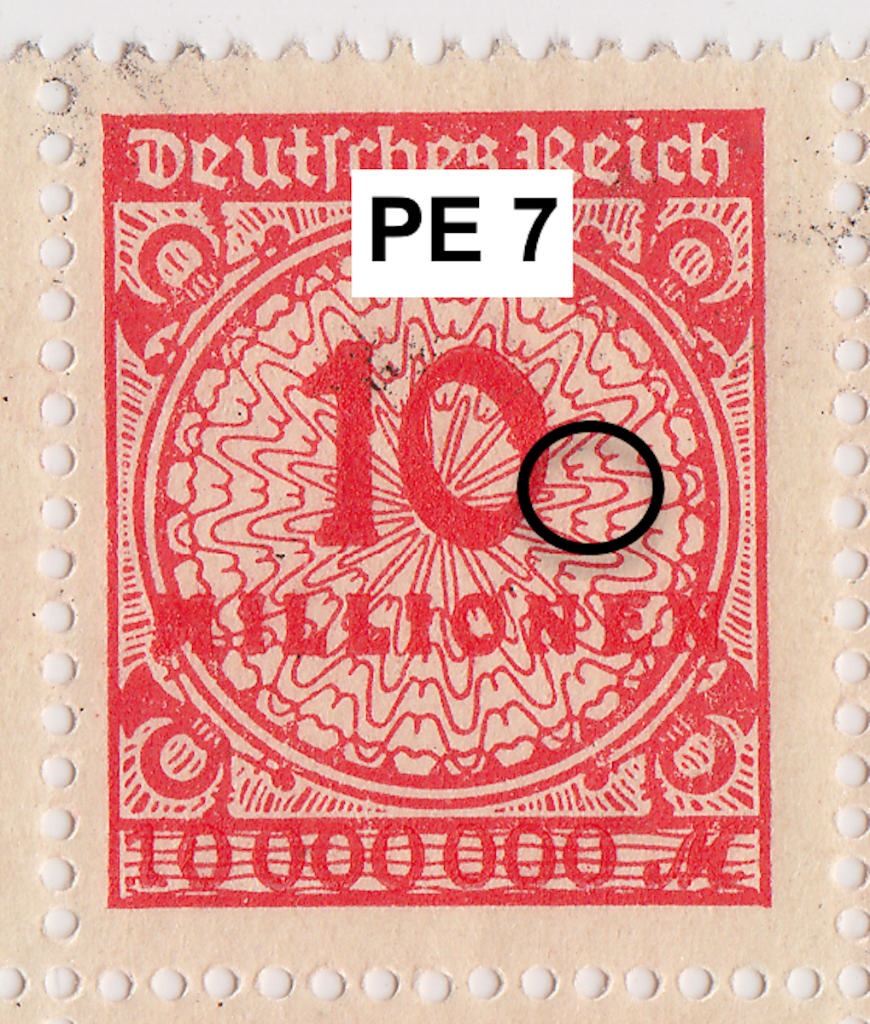 Mi. 318 PE7 flaw. German postage stamp.