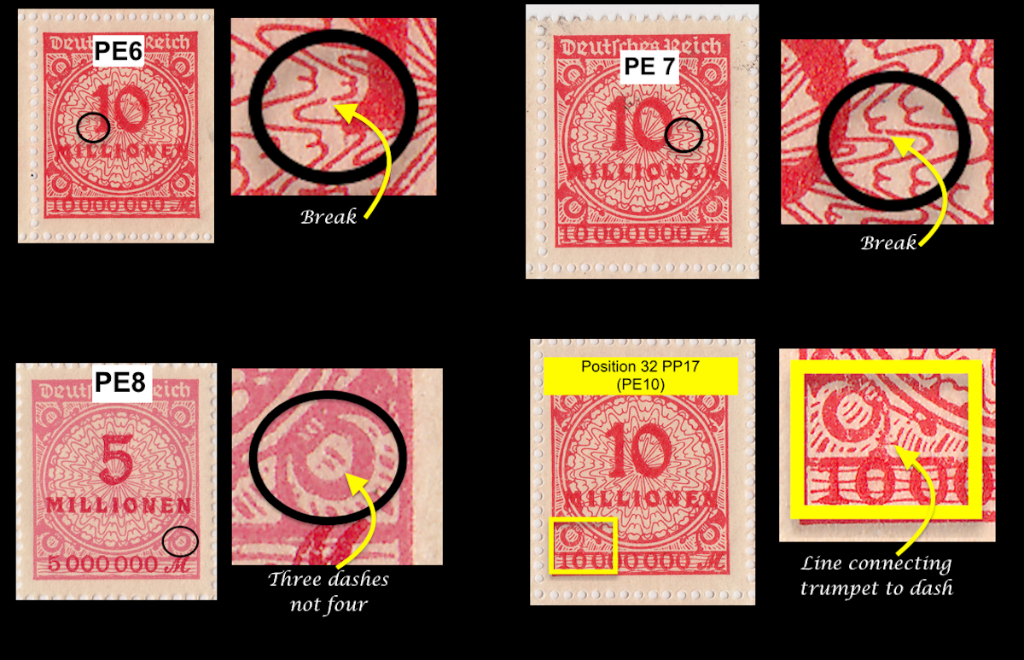 Summary of flaws including PE1 and PE8 from 5 million Mi.337 German postage stamps.