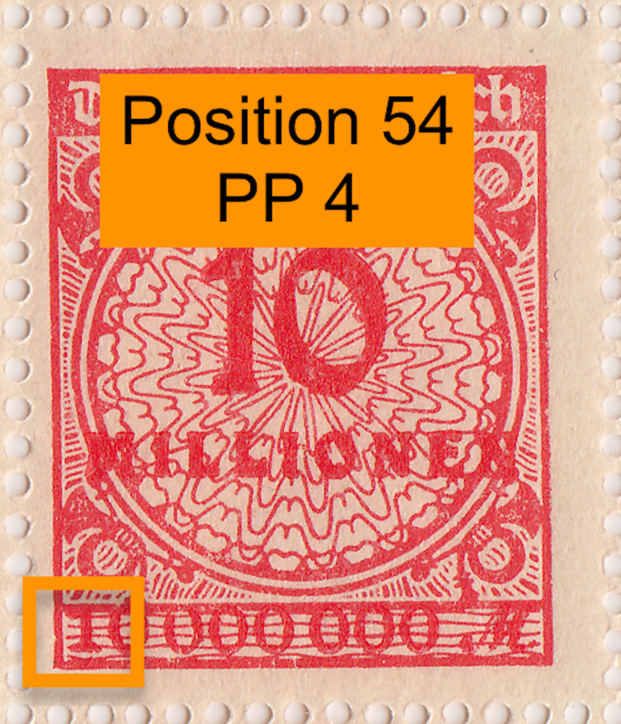 Mi.318 German postage stamp with PP4 flaw.