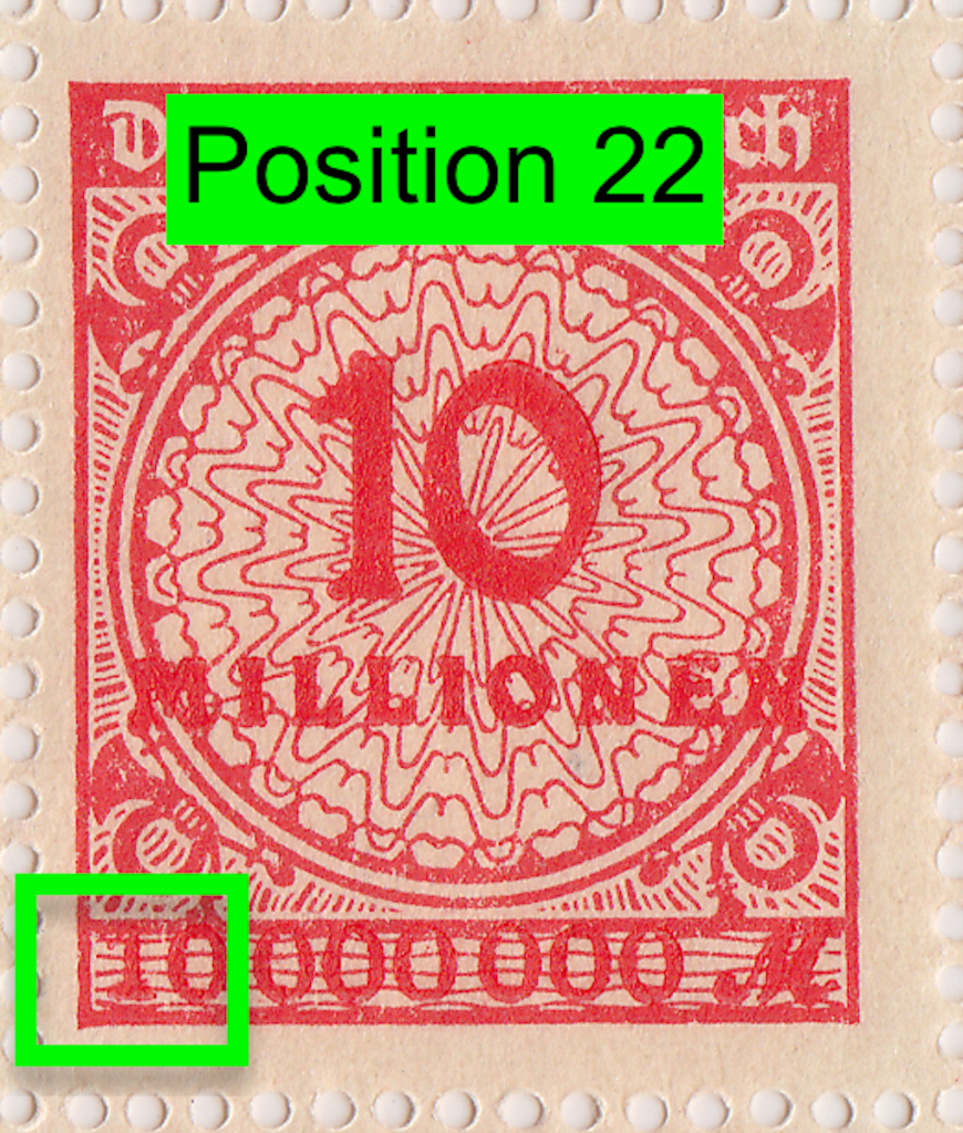 Mi.318 German postage stamp with PP12 flaw.