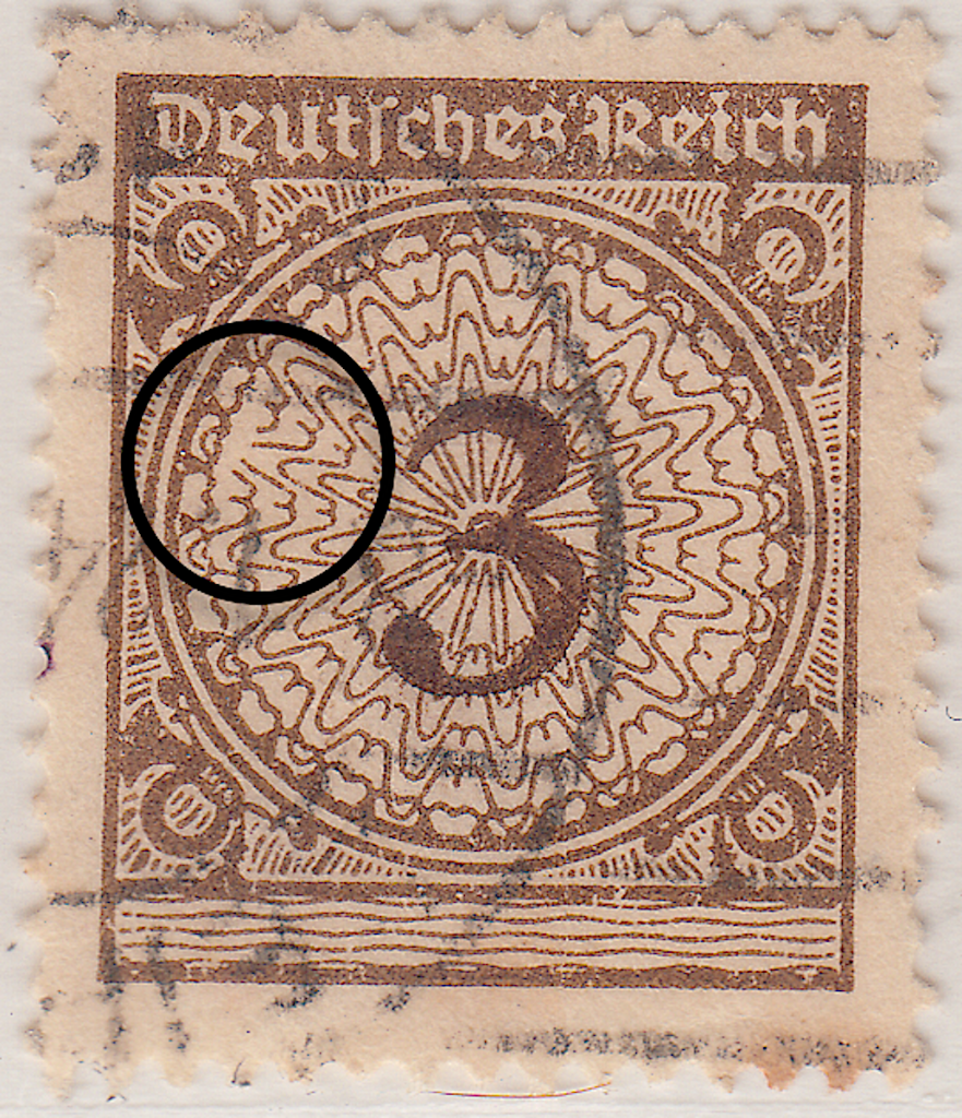 Large scale printing error on Mi.338 German postage stamp 1923 Pfennig issue.