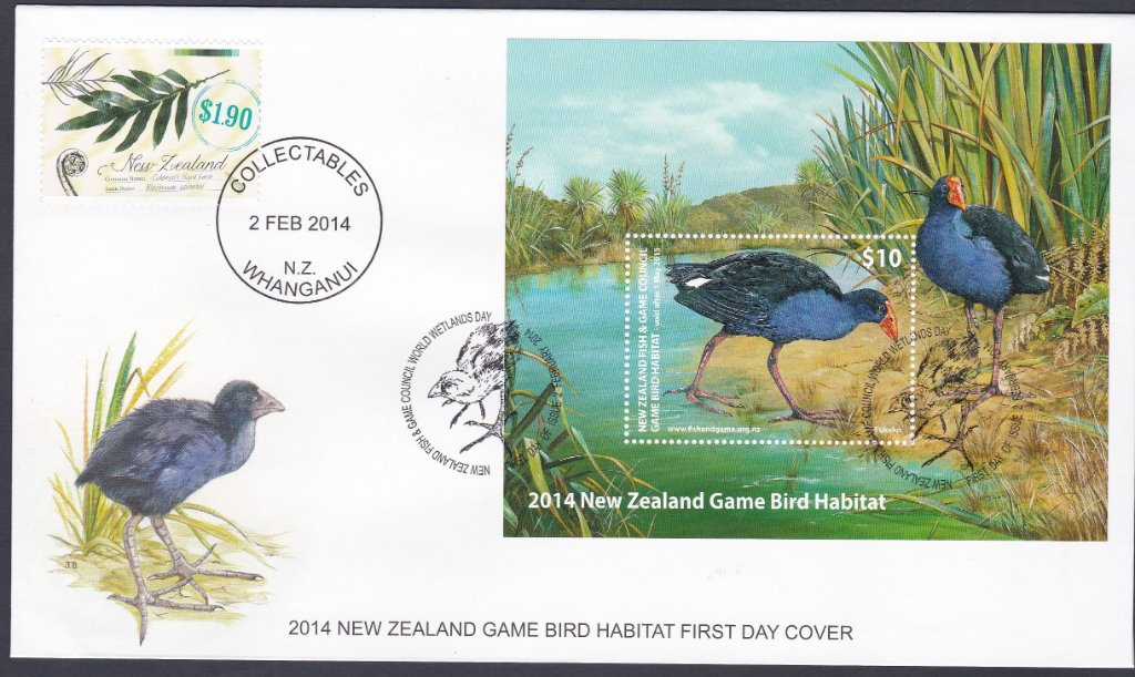 New Zealand 2014 F.D.C with 2014 New Zealand Game Bird Habitat stamp.
