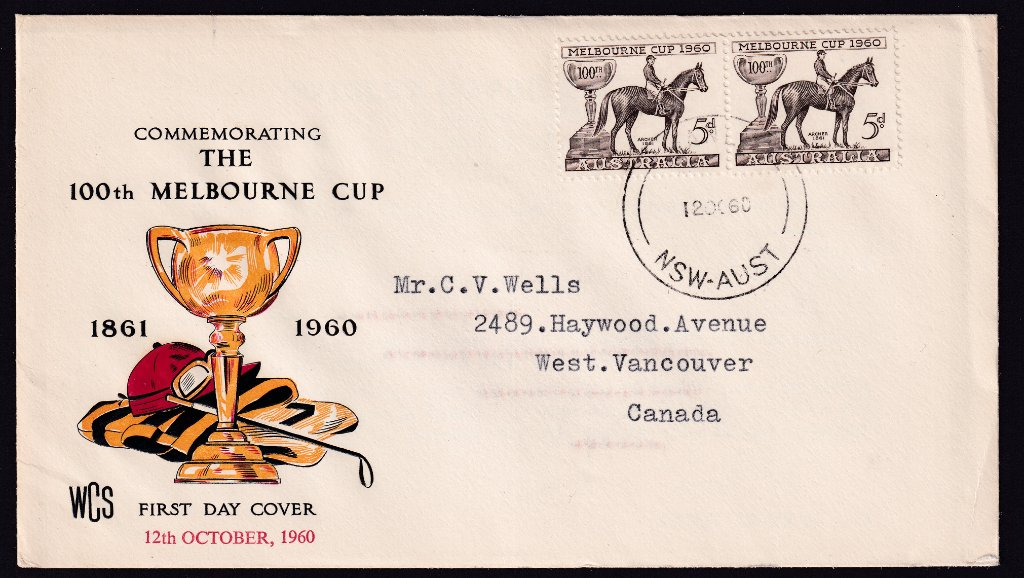 Wesley Cover service fdc for 1960 Melbourne Cup stamp to Vancouver Canada