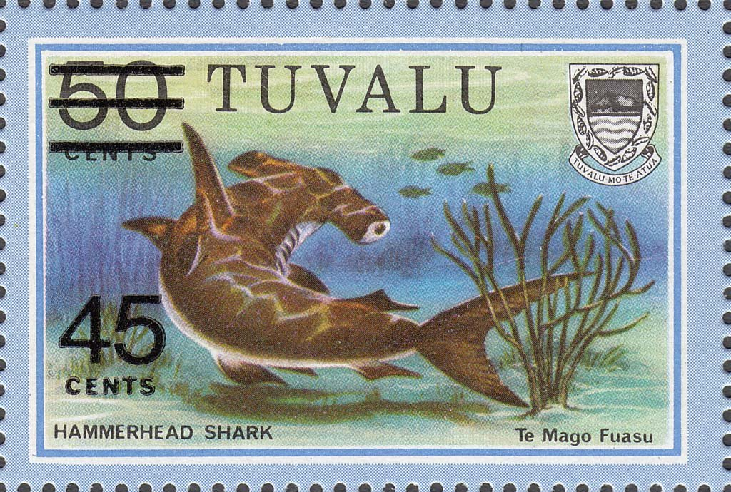 Tuvalu 1981 Hammerhead Shark 45c on 50c Surcharge by Typography stamp
