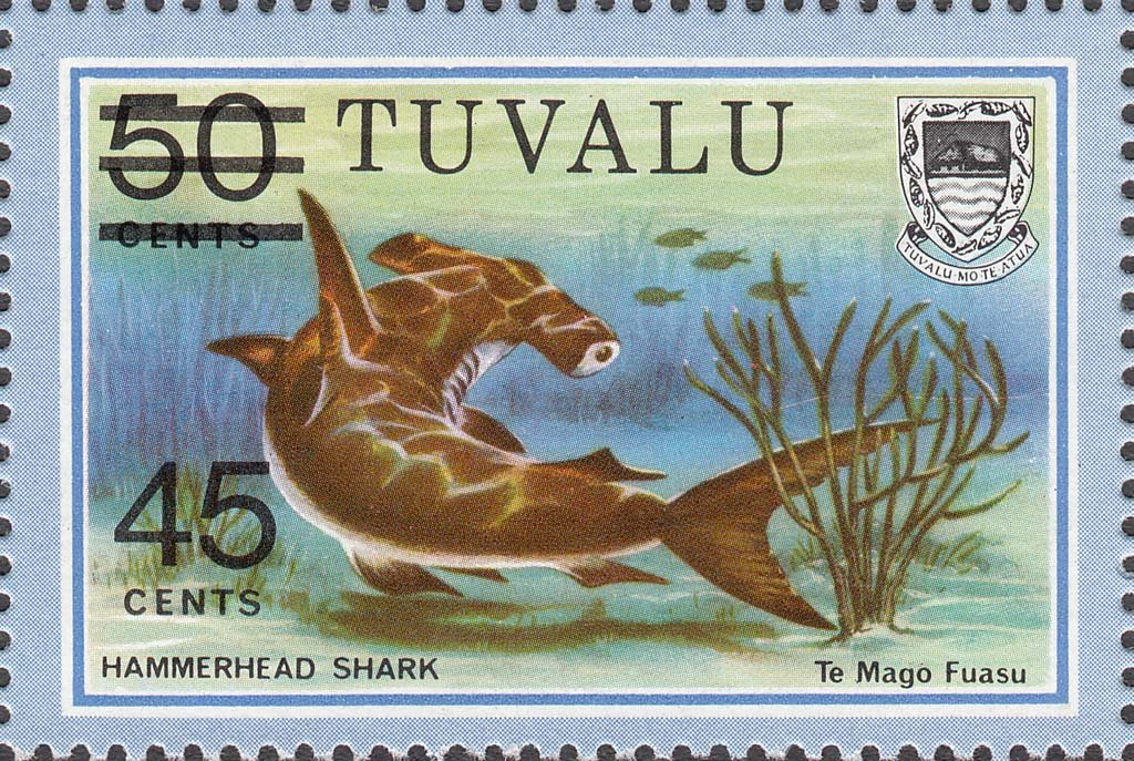 Tuvalu 1981 Hammerhead Shark 45c on 50c Surcharge by Lithography stamp