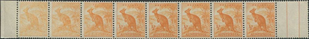 This very scarce strip of 8 1949 half-penny kangaroos with no watermark shows dry inking affecting the three stamps at left. The first two stamps showing an extreme variation of ink stripping.