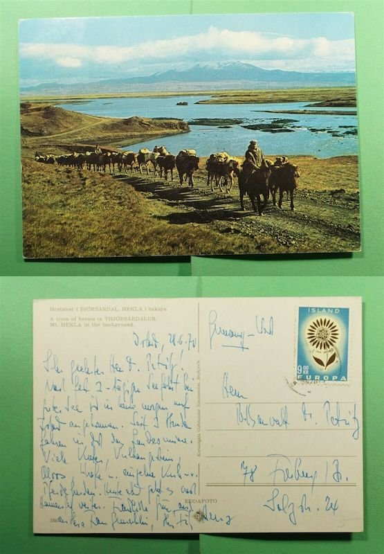 Iceland, 1970, postcard sent to Freiberg, Germany