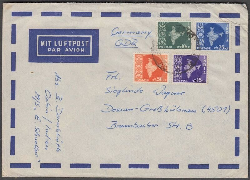 India, cover sent to  Germany, with map stamps