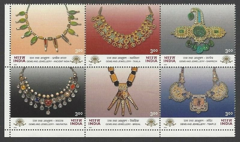 India, joined set of six stamps showing ancient jewellery