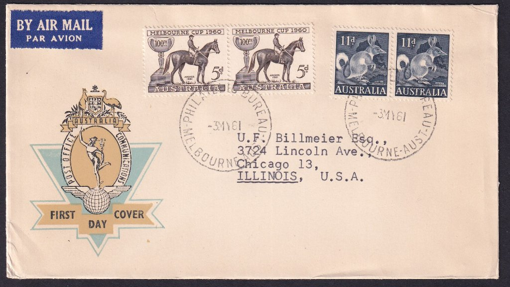 Hermes fdc for 11d Bandicoot with pair of 1960 Melbourne Cup 5d stamp added postmarked Philatelic Bureau Melbourne - 3rd May 1961 to Chicago, Illinois.