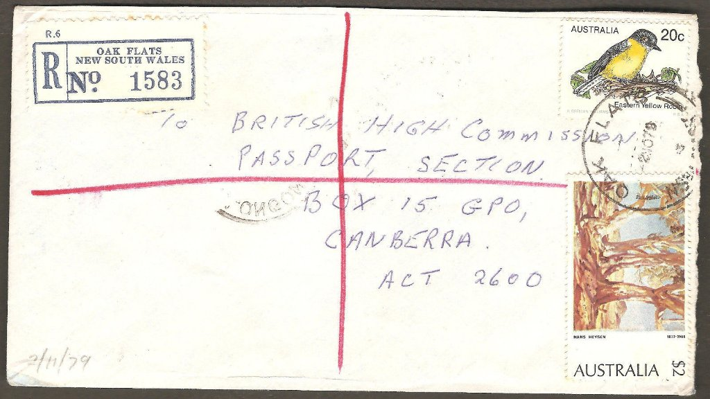 Registered cover sent from Oak Flats NSW to Canberra ACT. 1978.