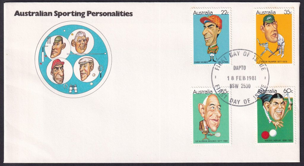 Australian Sporting Personalities fdc, including 22c Darby Munro stamp postmarked Dapto fdi - 18th February 1981.