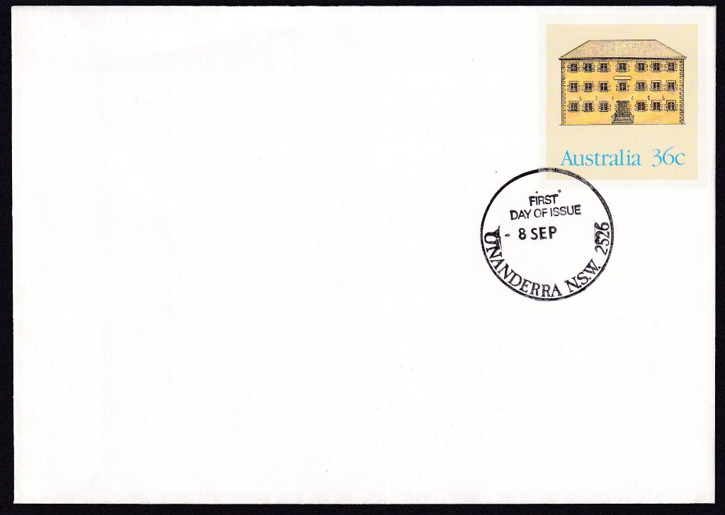 MacQuarie House Launceston, Historic Buildings pse, cancelled Unanderra fdi postmark  - 8th September(1986) - missing year from dateline