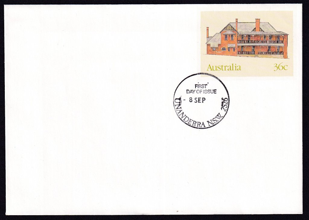 Old Hospital York, Historic Buildings pse, cancelled Unanderra fdi postmark  - 8th September(1986) - missing year from dateline